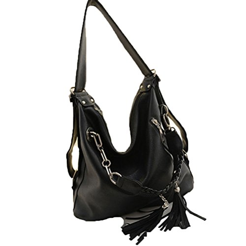 Donalworld Women Hobo Fashion Tassel Manmade Leather Shoulder Handbag Black2