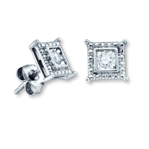 Genuine Diamond Stud Earrings Square Shape Rhodium on Sterling Silver - Nontarnish