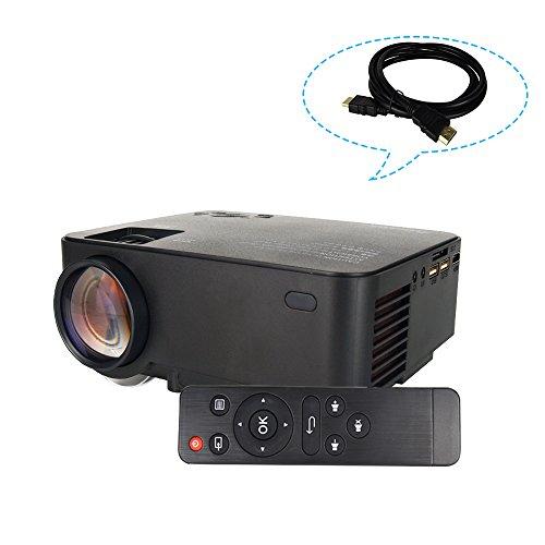 Touyinger ミニLCDプロジェクター 1500lm/1080P/日本語説明書 (USB/SD/HDMI/VGA)リモコン付き IR*2 ホームシアター 低いノイズ HDMIケーブル(1.5M)付き ブラック