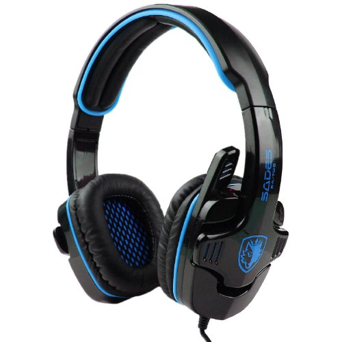 Sades Sa-708 3.5Mm Stereo Headset Headphones Gaming Headset Stereo Headset Headband Pro Game Earphone Bass Headphones With Microphone For Pc Laptop Mobile (708-Blue)
