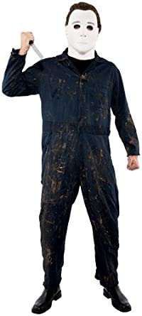 Paper Magic Men's Halloween Michael Myers Deluxe Jumpsuit And Mask,Blue,Medium
