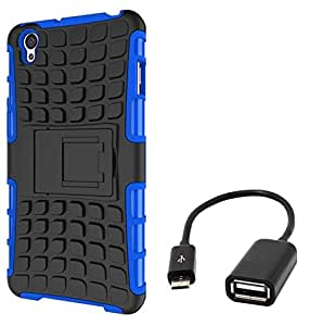 Chevron Tough Hybrid Armor Back Cover Case with Kickstand for OnePlus X with Micro OTG Cable (Blue)