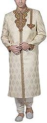 Amafhh Men's Silk Sherwani (amfsh1762, Beige, 38)