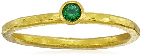 "GURHAN ""Skittle"" Emerald High Karat Gold Stacking Ring , Size 7"