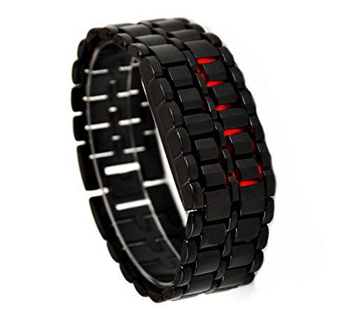 Liroyal Boy Red Light Black Metal Strap Lava Style Digital Led Watch