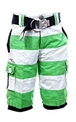 Fingerchips Boys Green Colour Striped 3/4th Shorts with matching belt (waist 24 )