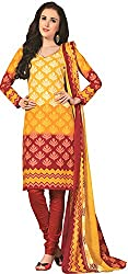 Tripssy Women's Cotton Printed Unstitched Salwar Suit (tr_dm_05, Maroon)
