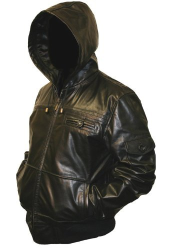 Mens Black Hooded Hoody Leather Jacket - L