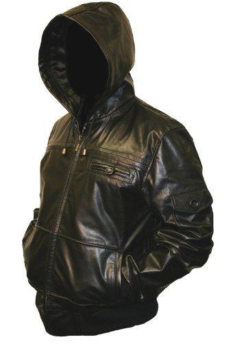 Mens Black Hooded Hoody Leather Jacket - S
