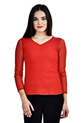 Femninora Red Color Casual Full Net Top