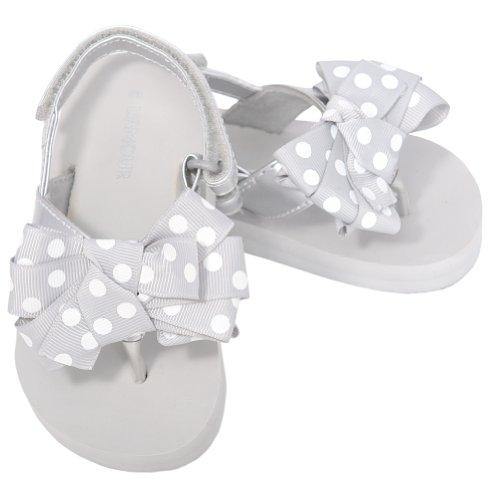 L'Amour Toddler Girls 5 Silver Polka Dot Bow Wedge Flip Flops Sandals