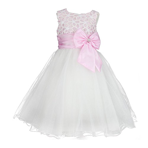 Girls Flower Formal Wedding Bridesmaid Party Christening Dress Children Clothing Girls Lace Dress Princess Dresses Kid Baby Clothes age 2-12 years (2-3years, pink)