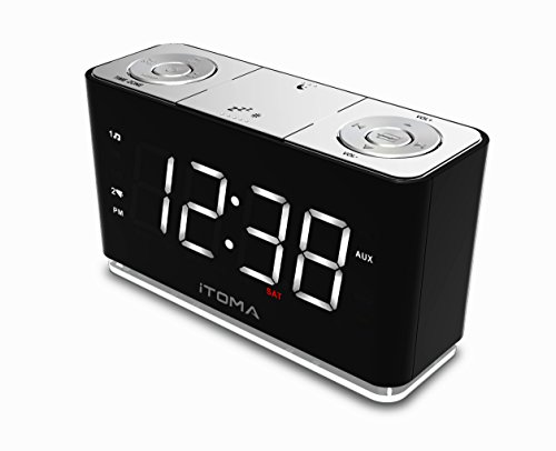 itoma alarm clock radio with digital fm night light dual import it all. Black Bedroom Furniture Sets. Home Design Ideas