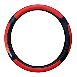 Delhitraderss Highly Quality Red and Black Car Steering Cover for Alto / WagonR / i10 / Santro