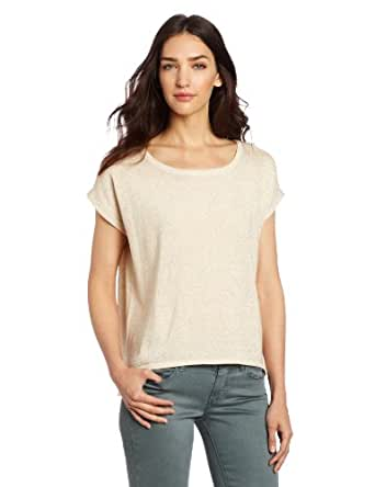 Design History Women's Sparkle Roll Sleeve Tee, Antique White, Small