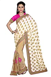 Anvi Off White & Beige Georgette Jacquard & Net designer saree with unstitched blouse (1676)