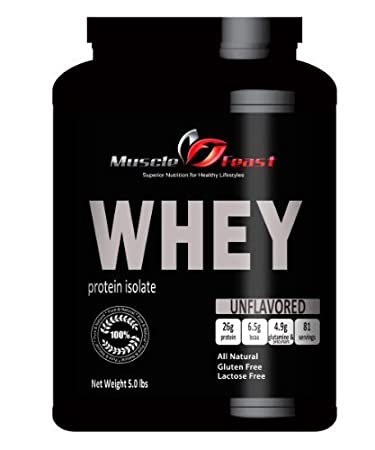 Pure WPI - Whey Protein Isolate Natural 5 Lbs by Muscle Feast, LLC
