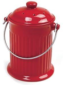 Norpro 1 Gallon Ceramic Compost Keeper, Red