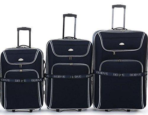 Top-offerta - trolley-valigetta-Set - 3 carrelli - XXL-capacità - 76/66/56 cm, estendibile - Nero