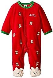 Little Me Baby Boys\' Bear Schiffli Velour Footie, Red, 9 Months