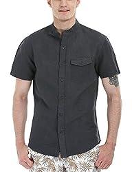 Zobello Men's Madarin Collar Linen Shirt(11087F_Cool Black_Medium)