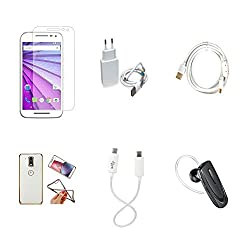 High Quality Combo of Moto G3 Temper Glass + 2 Amp USB Charger + Fast Charging Cable + Attractive Back Cover (Transparent Back with Golden Border) + Android to Android Charging Cable