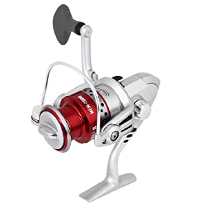 Como Red Rotating Handle Gear Ratio 5.5:1 Fishing Spinning Winding Reel Silver Tone