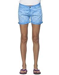 Ixia Women's 100% Cotton Lycra Petrol Blue Full Embroidered Shorts(LISR302PBLUE_38)
