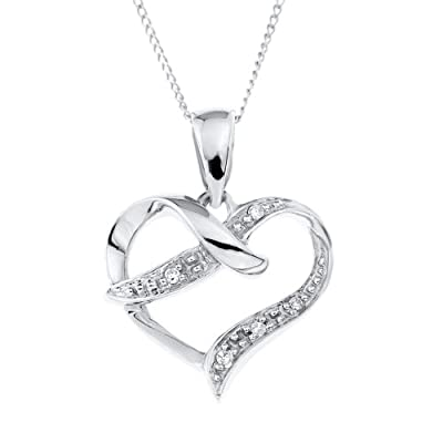 Ornami Glamour 9ct White Gold Diamond Set Crossover Heart Pendant with 46cm Curb Chain