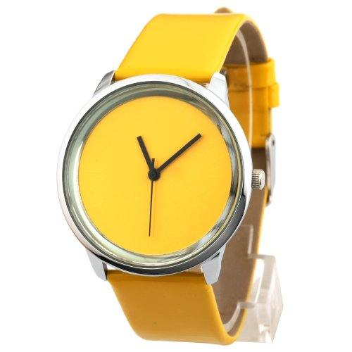 Yesurprise Fashion Women Concise Faux leather Band Quartz Wrist watch Xmas Gift Yellow