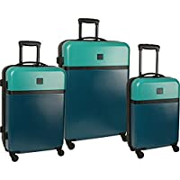 Diane von Furstenberg Addison 3 Piece Hardside Spinner Luggage Set - Lagoon/Teal Black