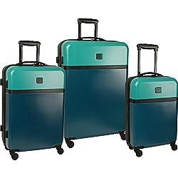 Diane von Furstenberg Addison 3 Piece Hardside Spinner Luggage Set - Lagoon/Teal Black