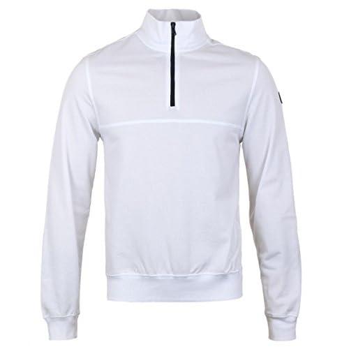 Mens Paul & Shark White Pique Cotton Funnel Neck Sweatshirt