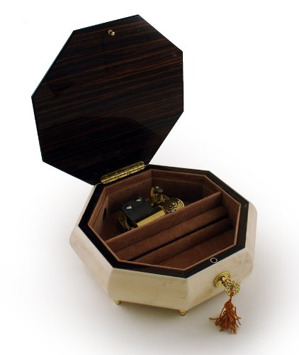 Immaculate 30 Note Ivory Stain Octagonal Music Jewelry Box with Rose and Butterfly Inlay with 30 Note Tune-Jingle Bells tune hand crank 15 note music box movement hole puncher 20 paper tapes music box parts