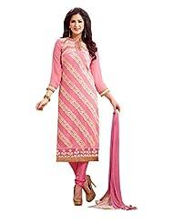 Trendz Apparels Pink 60 Gm Georgette Straight Fit Salwar Suit - B016QJ15ZC