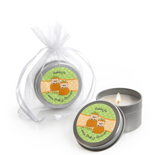 Twin Little Pumpkins Caucasian - Personalized Baby Shower Candle Tin Favors front-801328