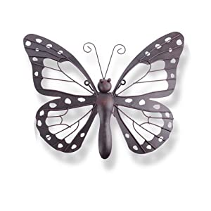 Decorative Metal Butterfly Garden Wall Art Black / Brown Finish by Gardens2you