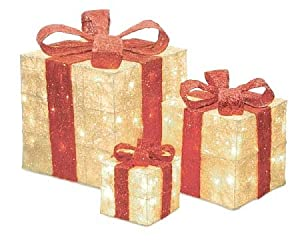 Set of 3 Sparkling Cream Sisal Gift Boxes Lighted Christmas Yard Art Decorations