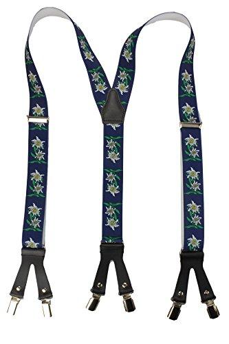 Bretelle 6 clip di alta qualità - vera pelle - disegno stella alpina blu