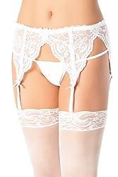 Coquette Women's Lace Garter Belt, White, One Size-Plus