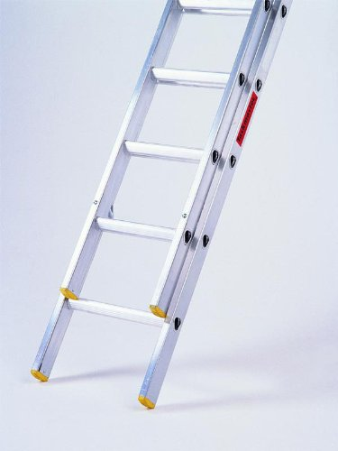 Summit Ladders Trade 2.5m (8.2ft) Double Extension Ladders - 2 x 9 Rungs Aluminium Ladders EN131 Extends from 2.5m - 4.25m (8.2ft-13.9ft). Made in Britain.