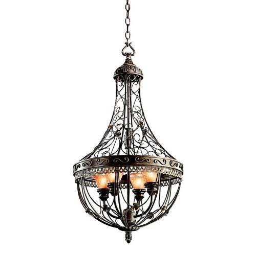 B002LN80RE Kichler Lighting 42230TRZ Marchesa 4-Light Foyer Pendant, Terrene Bronze with Piastra Glass
