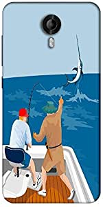 Snoogg Blue Marlin Fish Jumping Retro Designer Protective Back Case Cover For Micromax Canvas Nitro 3 E455