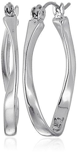 t-tahari-silver-twist-oval-hoop-earrings