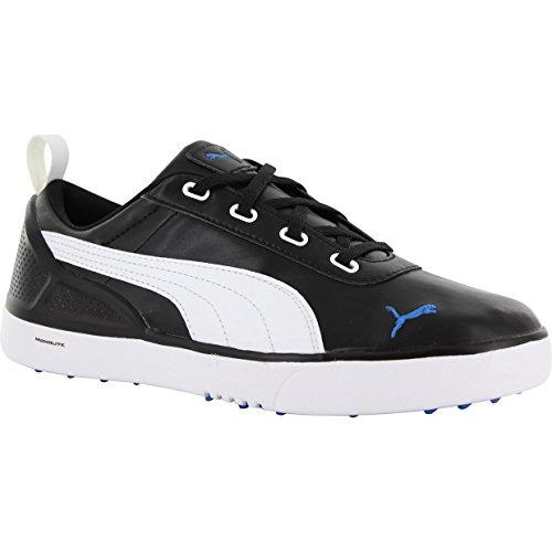 PUMA Golf Unisex Monolitemini (Little Kid/Big Kid) Black/White/Strong Blue Sneaker 6 Big Kid M