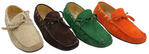 Mens Deck Boat Moccasin Suede Leather Lace Up Shoes Italian Orange Green Brown Cream