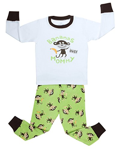 "Elowel Boys ""Monkey With Banana"" 2 Piece Pajama Set 100% Cotton - 2 Toddler front-1003803"