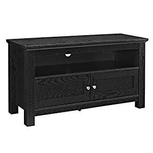 Walker Edison Cortez Wood TV Console, Black