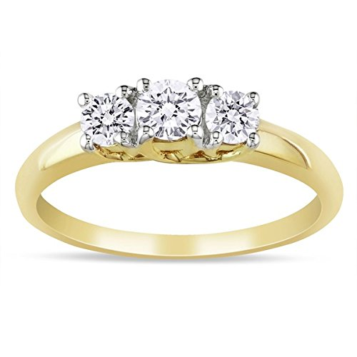 0.58 Carat Three Stone Cheap Engagement Ring with Round cut Diamond on 18K Yellow gold