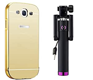 Novo Style Back Cover Case with Bumper Frame Case for Samsung Galaxy Core Prime G360  Golden + Wired Selfie Stick No Battery Charging Premium Sturdy Design Best Pocket Sized Selfie Stick